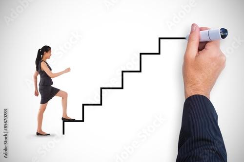 Fotografie, Obraz  Composite image of businesswoman stepping up