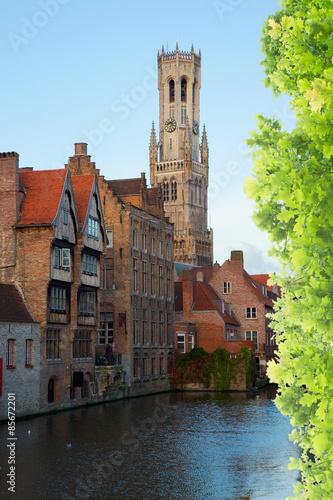 Poster Brugge view of old Bruges, Belgium