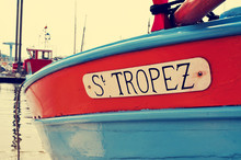 St. Tropez Written In A Boat, With A Retro Effect
