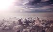 Leinwandbild Motiv Fondo de nubes y puesta de sol