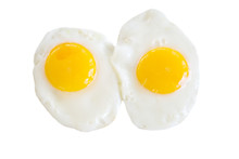 Sunny Side Up Eggs – Two Sunny Side Up Eggs, Isolated On A White Background.
