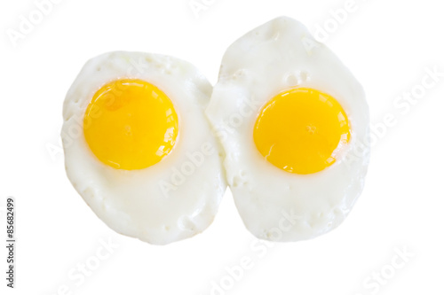 Spoed Foto op Canvas Gebakken Eieren Sunny Side Up Eggs – Two sunny side up eggs, isolated on a white background.