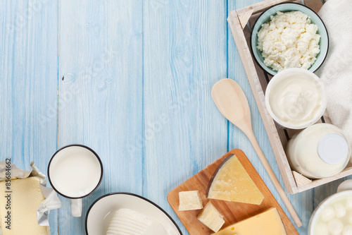 Poster Dairy products Dairy products. Sour cream, milk, cheese, egg, yogurt and butter
