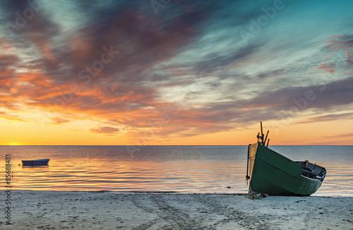 Obraz Colorful sunrise at village of fishermen, Baltic Sea, Latvia - fototapety do salonu