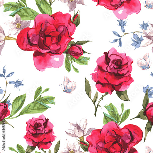 Seamless Watercolor Background with Blooming Red Roses
