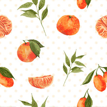 Seamless Watercolor Background With Oranges And Tangerines