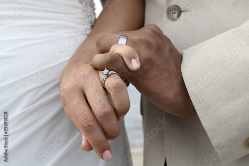Up Close Shot Of A Wedding Ring On White Female S Hand And Band