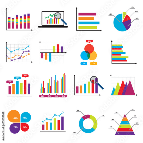 Fotografía  Business data market charts diagrams and graphs