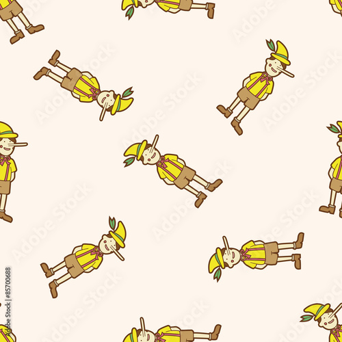 Pinocchio , cartoon seamless pattern background Fototapeta