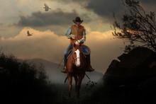 A Mountain Cowboy Rides To The...