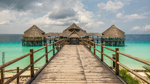 Bar and cafe on water in Zanzibar, Tanzania