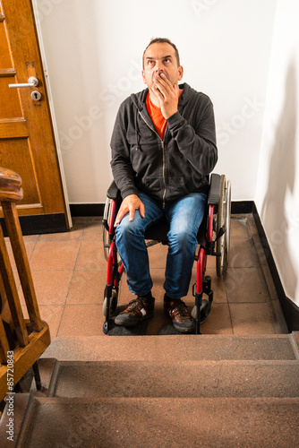 Valokuva  man in wheelchair facing a barrier of stairs