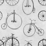 Ołówkowy rysunek retro rower. Wzór - 85723200