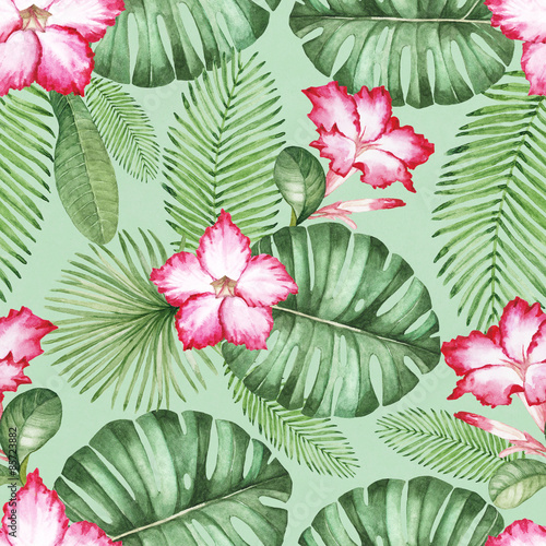 Cotton fabric Watercolor seamless tropical pattern