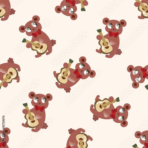 Poster Jeunes enfants animal bear playing instrument cartoon , cartoon seamless pattern background