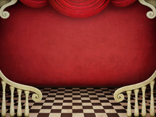 Red Vintage Background With Architectural Elements