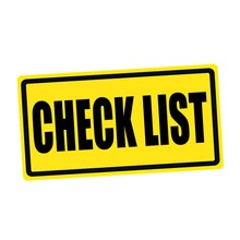 Check List Black Stamp Text On Yellow