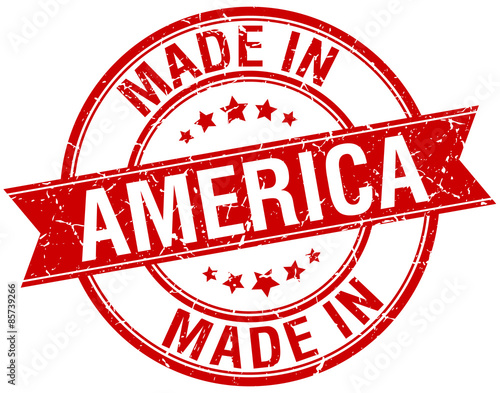Photographie  made in America red round vintage stamp