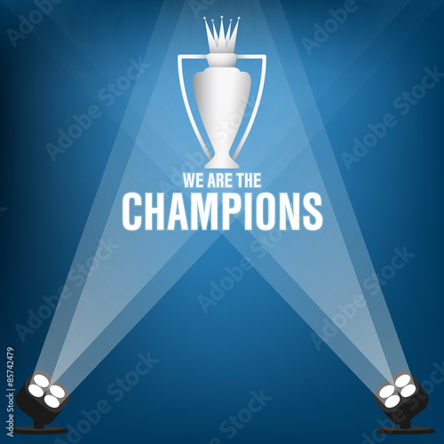 Fotografie, Tablou  Champions trophy on stage with spotlight, Vector illustration