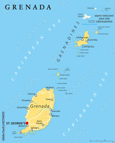 Grenada political map with capital St. Georges. Island Country and ...