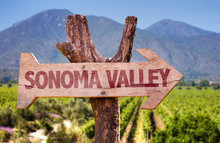 Sonoma Valley Wooden Sign With Winery Background