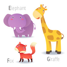 Alphabet With Animals From E T...