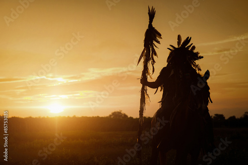 Fotografie, Obraz The Indians are riding a horse