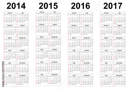 2014 2015 2016 2017 year vector calendars Buy this stock vector