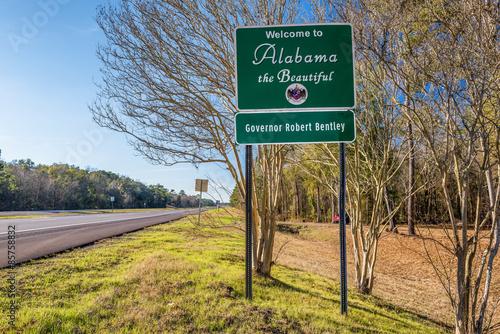 Fotografia  Welcome to Alabama road sign