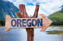 Oregon Wooden Sign With Mountains Background