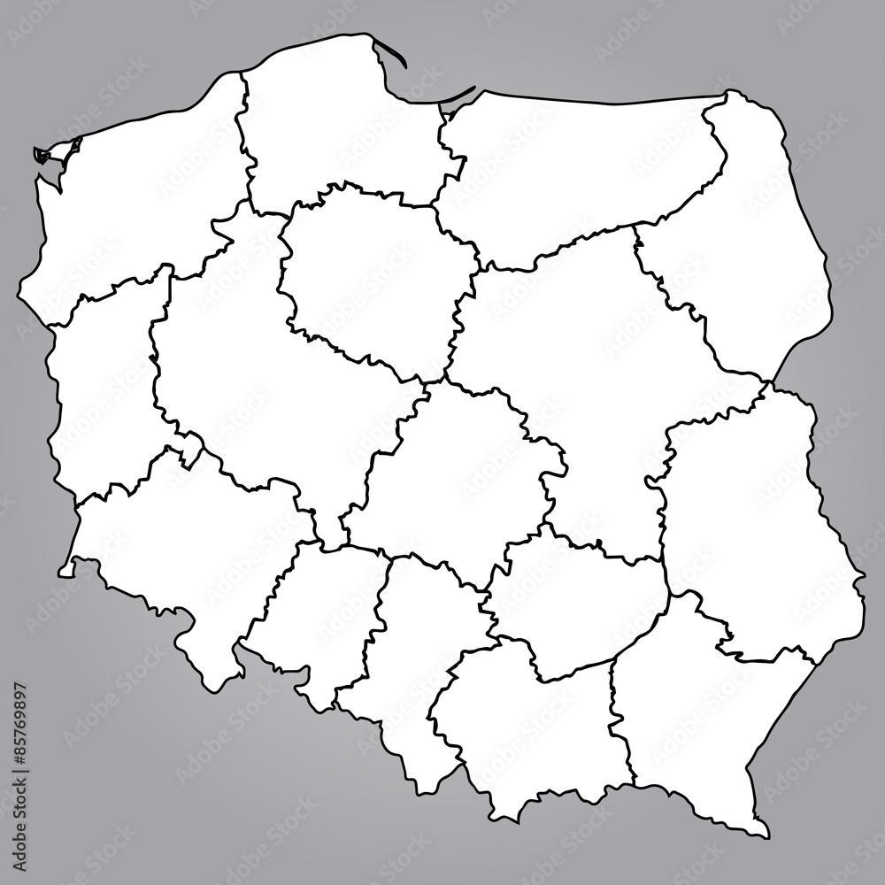 Obraz Na Plotnie Mapa Polski Wojewodztwa Mapa Polerowac