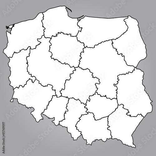 Obraz Na Plotnie Mapa Polski Wojewodztwa Mapa Polerowac Polen