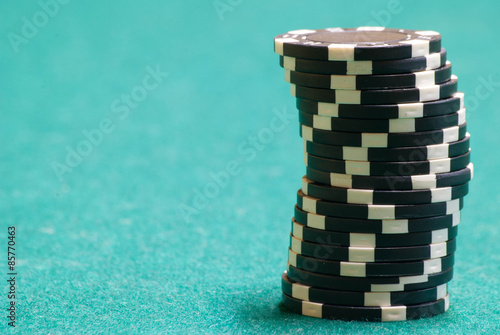 Stack Of Black Poker Chips плакат