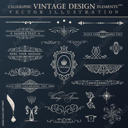 Fotografie, Obraz  Vector vintage set. Calligraphic elements and page decoration pr