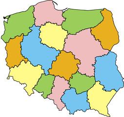 Fototapeta Mapy Mapa Polski Województwa Kolorowa