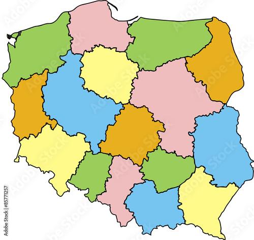 Mapa Polski Wojewodztwa Kolorowa Buy This Stock Vector And