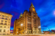 Royal Liver Building In Liverpool In The Evening - England