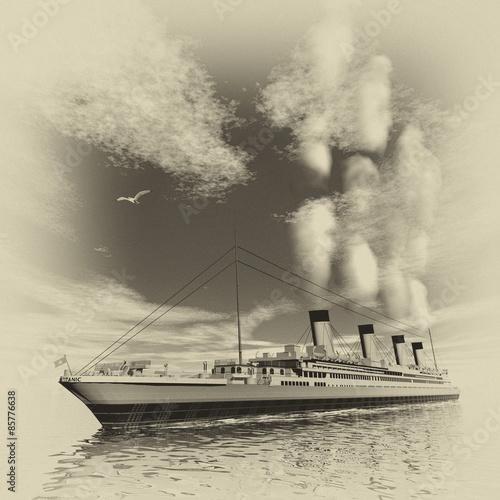 Photo  Titanic ship - 3D render