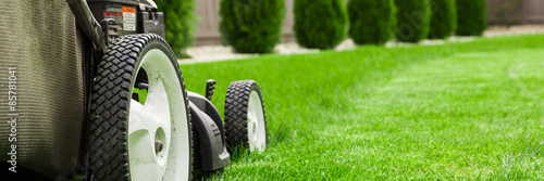 Fotomural Lawn mower on green lawn