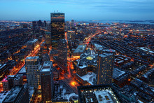 An Aerial Night View Of Boston City Center, Massachusetts