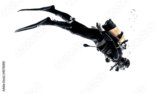 Poster Plongée man scuba diver diving silhouette isolated