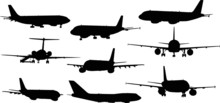 Nine Airplanes Silhouettes Isolated On White