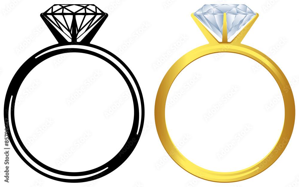 Fototapety, obrazy: Engagement diamond ring.