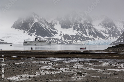 A stone beach in Magdalena bay, Spitzbergen