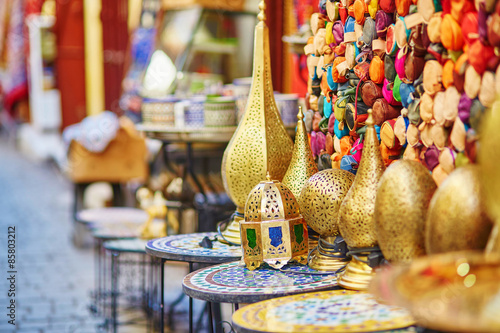Poster Maroc Selection of traditional lamps on Moroccan market