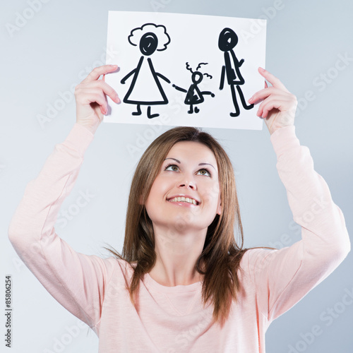 Fotografie, Obraz  woman holding picture with happy family