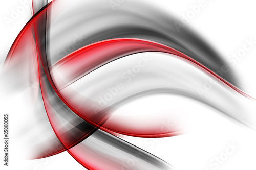 Fotografie, Obraz  Red Black Abstract Waves