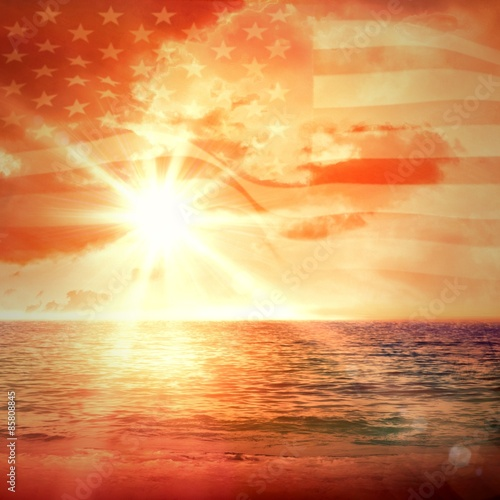 Foto auf Leinwand See sonnenuntergang Digitally generated united states national flag
