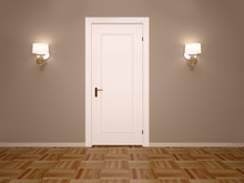 3d Illustration Of White Closed Door With Two Lamps On Each Side