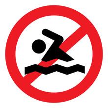 Vector Illustration Of No Swim...